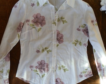 Vintage 1990's White Floral Long Sleeved Collared Shirt UK Size 8