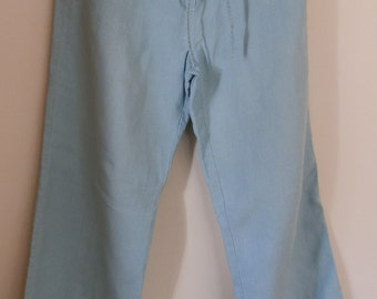 Vintage 1990's EAST Pure Linen Wide Leg Pale Aqua Trousers / Palazzo Pants UK Size 14