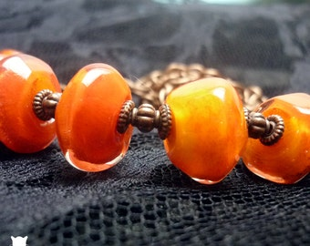 Gifts for Her, Orange Necklace, Hand Blown Glass Bead Necklace, Orange Hand Blown Glass Bead Necklace, Copper Necklace