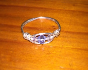 Blue and Clear Crystal Bead Ring
