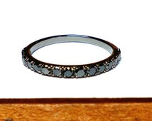 Combine Ring-Black Diamond Ring-14 k Black Gold Ring-Black Diamond Black Gold Ring