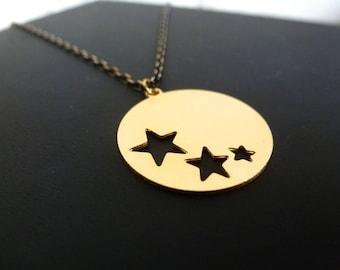 DESTOCKING necklace star, brass and black string