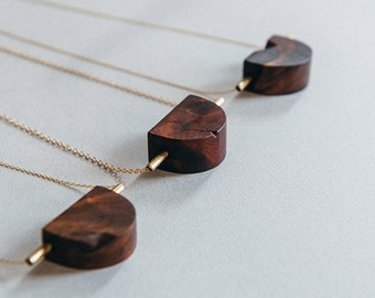 Cracked Moon Necklace: Wood & Brass Pendant on Chain
