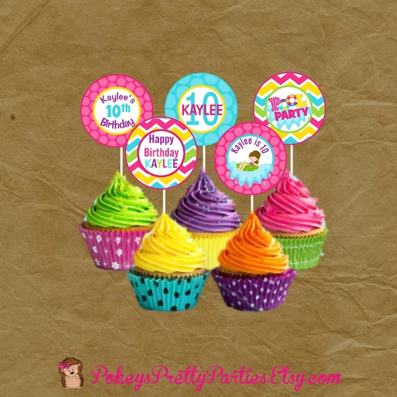 Girls Pool Party Birthday Party Cupcake Toppers