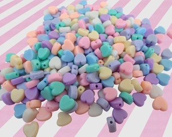 Pastel Heart Candy Necklace Beads, Acrylic Beads - 8mm, 100 pc set