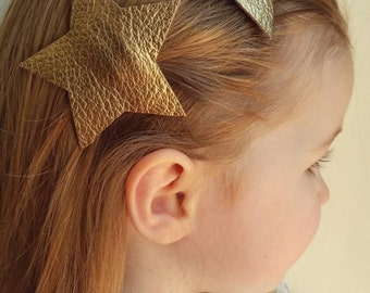 Gold Star Hairclip * Leather Hair Accessories * Metallic Star Hair Clips * Geometric Modern