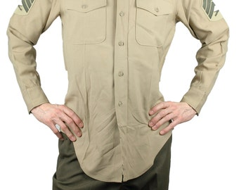 Men's Original U.S. Army Shirt Military Medium Marine Corps Sergeant Khaki Beige Shade US Army Polyester Wool Man's Long Sleeve Sleeves