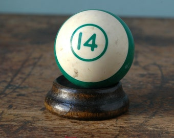 "Old Billiard Ball 2.25"" Number 14 Green & White Striped Paperweight Decor Plastic Bakelite Retro Pool Accessories Number"