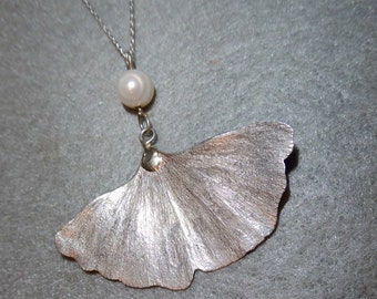 Ginkgo Pendant, Sterling Silver, Ginkgo Pearl Pendant, Large Ginkgo Leaf, Nature Jewelry, Textured Leaf, Silver Ginkgo, Silver Leaf Pendant