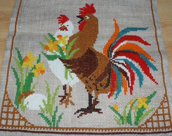 Colorful vintage Easter retro wall hanging Tapestry with embroidered rooster and hen. Made in Sweden Scandinavian.