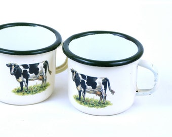 French Enamel cups - Cow cups - Rustic cups - French antique cups -