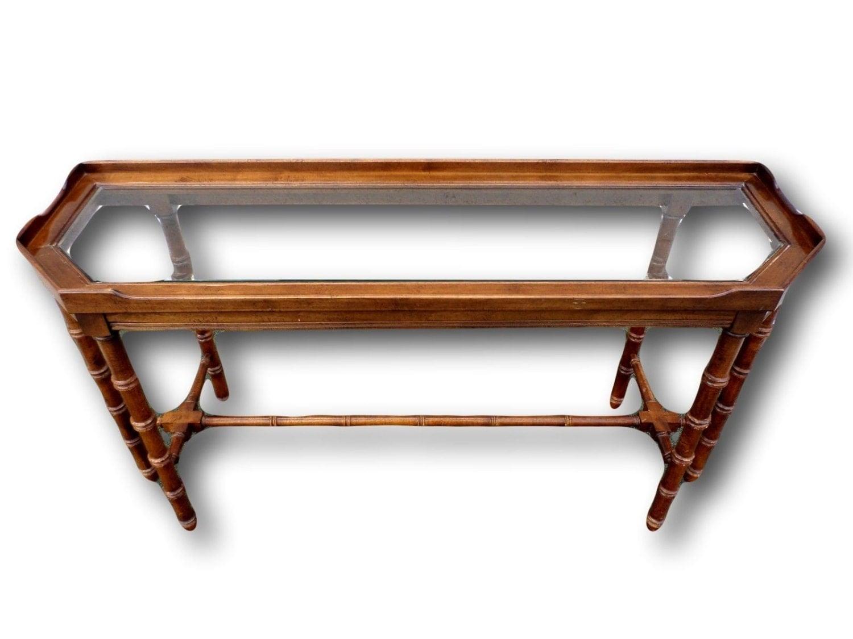 Vintage lane faux bamboo console table haute juice - Table haute console ...