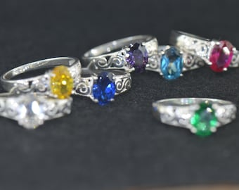 925 Sterling Silver Birth Stone Kids Ring