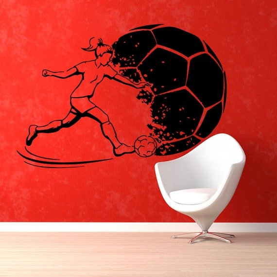 Soccer Wall Decals Girl Football Player By Walldecalswithlove