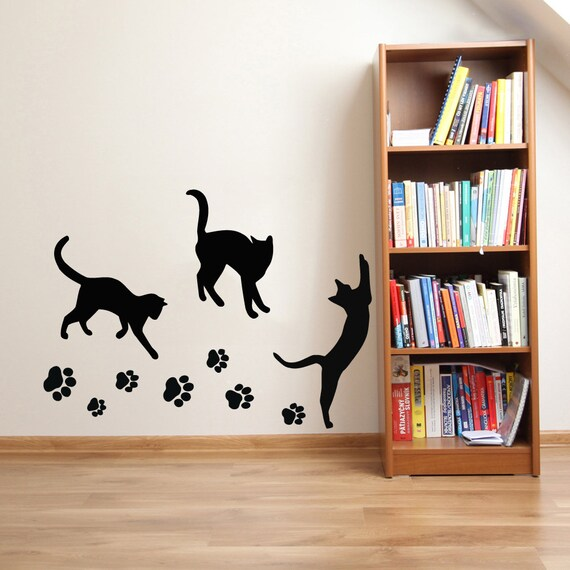 cats wall decals paw prints kitten vinyl sticker pet shop love cats wall decals by couture deco