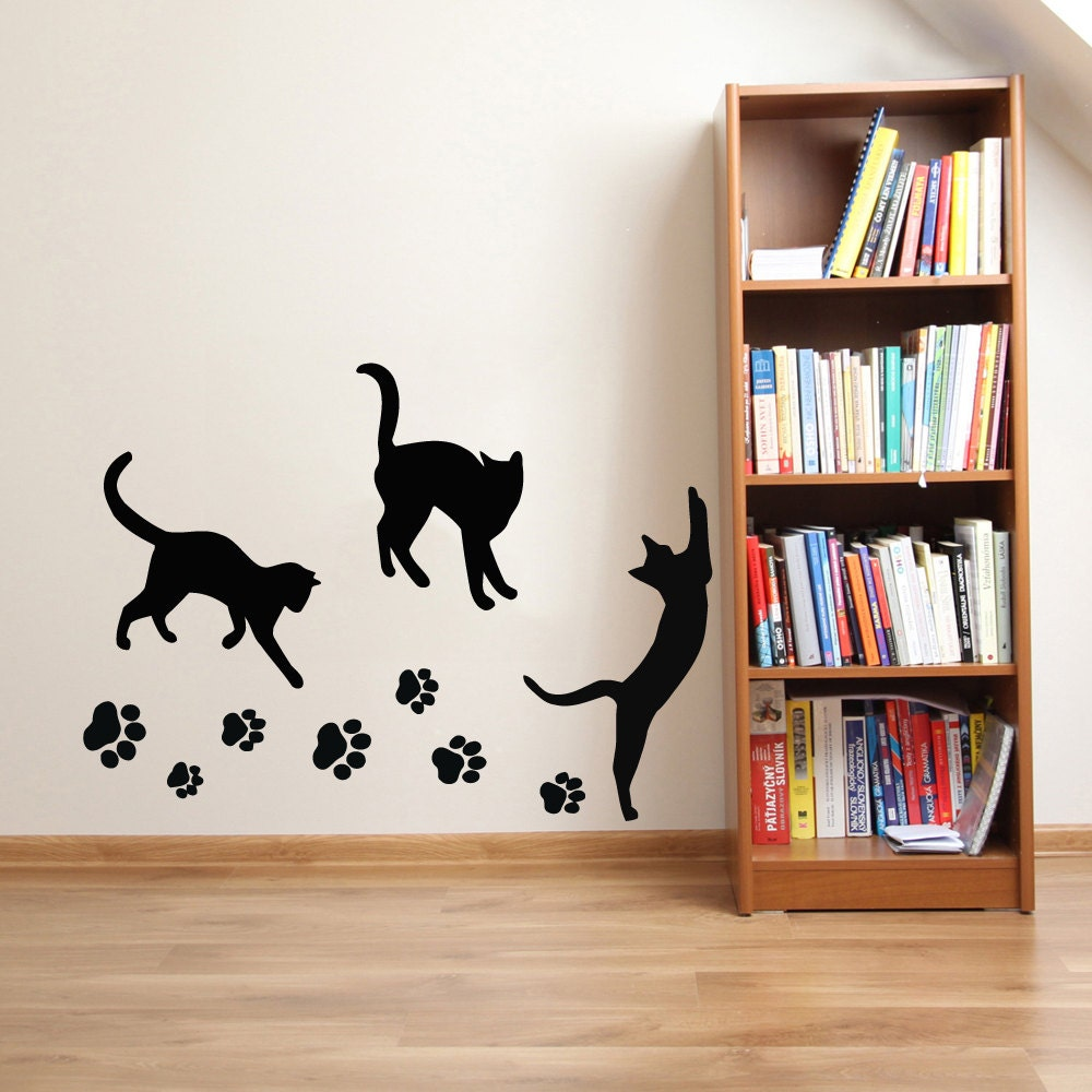 cats wall decals paw prints kitten vinyl sticker pet shop love. Black Bedroom Furniture Sets. Home Design Ideas
