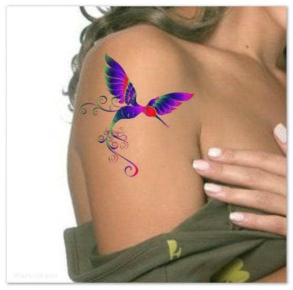 Temporary tattoo hummingbird waterproof ultra thin realistic - Idee de tatouage pour femme ...