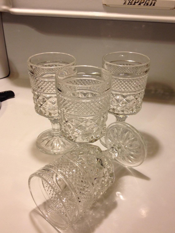 Anchor Hocking Wexford Pattern Wine Goblets Vintage Pressed