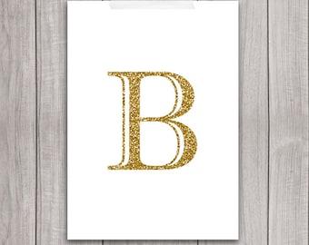 75% OFF SALE - Gold Letter Art - 5x7 Letter B Wall Art, Gold Glitter, Art Print, Alphabet Printable Art, Gold Alphabet, Gold Monogram