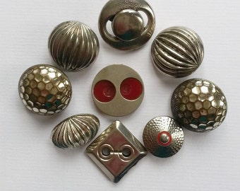 Art Deco metal buttons in various shapes and sizes