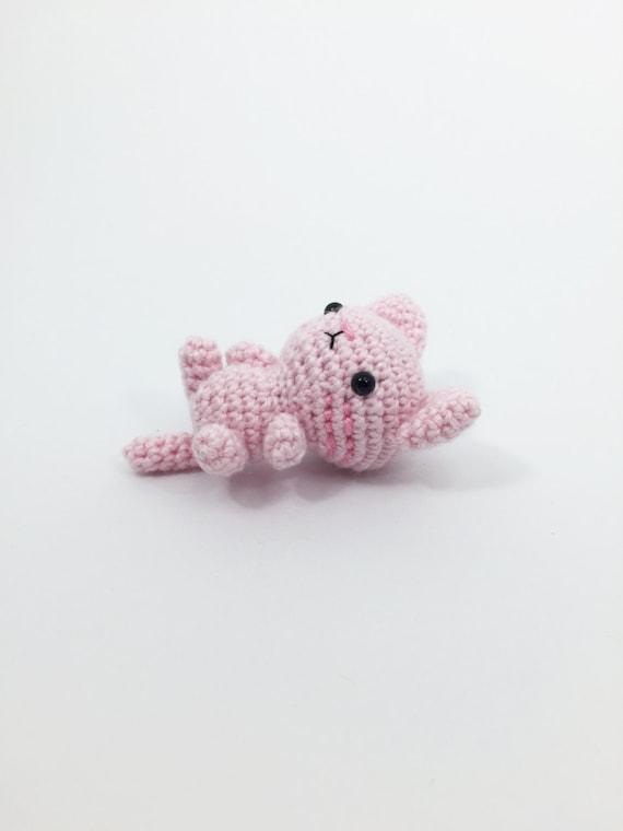 Amigurumi Kitty Mini : Mini Crocheted Pink Kitty Crochet Cat Crochet Kitty by ...