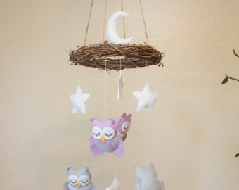 Baby mobile - Owl mobile - nursery hanging decor: Owl, moon and stars mobile - custom colors available - choose mobile hanger
