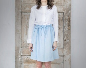 Light Blue Linen Skirt. Women skirt. Washed linen skirt.