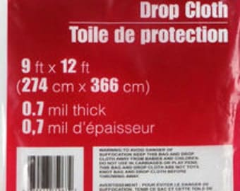 drop cloth 9 ft x 12 ft 07 mil thick clear plastic protect floors furniture