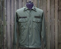 Olive Green Military Shirt Jacket, Medium