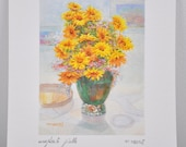Beautiful Yellow and Orange Floral Watercolor Print Signed by F. Neri/Ready to Frame/Wall Art/Home Decor/ Flowers/ Painting/Interior Design