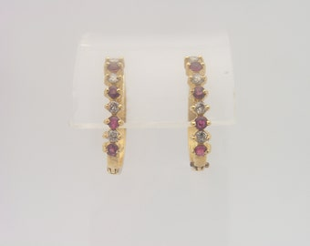 0.50 Carat Total Gem Weight Ruby & Diamond Earrings 14K Yellow Gold