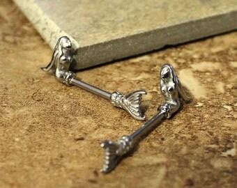 Nipple bar barbell etsy for Pierced nipple stretching jewelry