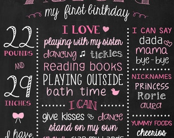 Baby Girl Birthday Board - Girls First Birthday - First Birthday Chalkboard - Pink Birthday Sign - 1st Bday Printable Poster