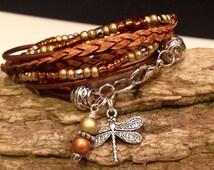 Boho Wrap,Leather Beaded Bohemian Wrap Bracelet, Gypsy, Christian, Copper, Silver, Gold Wrap Bracelet CHOOSE your CHARM, Custom, Personalize