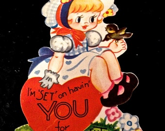 Vintage Valentine's  Card, Die Cut Valentine Card, Red Hearts, Little Blonde Girl, Bird, Valentines Ephemera, Circa 1940s