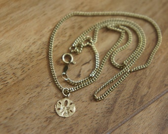 Vintage  Jewelry  Necklace Chain 14 K GF gold filled + Pendant  Disk 3/8'' solid gold 14k  W-089