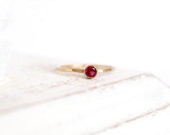 Garnet Ring - January Birthstone Ring - Gemstone Ring - 14k Gold Fill or Sterling Silver - Stacking Ring - Thin Simple Ring -  Bezel Ring