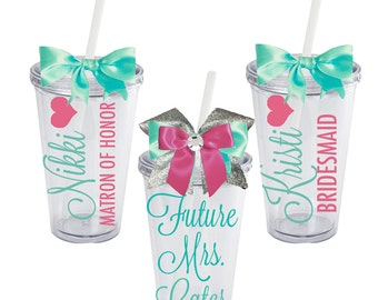 Set of 8 Bridesmaid Tumblers, Maid of Honor, Bridal Party, Personalized Acrylic 16oz.Tumbler With Bow- Future Mrs. for Bride