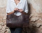 Brown Leather Tote Bag / Women Handbag / Cross Body Bag / Chocolate Shoulder Bag / Messenger Bag / Leather Purse / Every Day Bag -  Adel