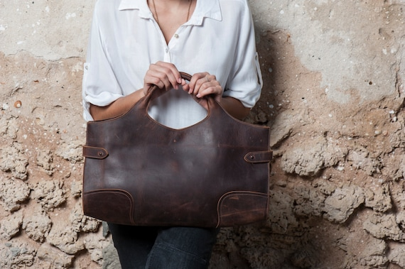 Brown Leather Tote Bag / Women Handbag / Cross Body Bag / Chocolate Shoulder Bag / Messenger Bag / Leather Purse / Every Day Bag -  Adel
