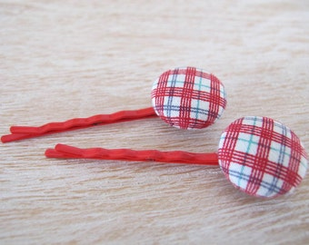 Button Bobby Pin - Red Checker (Set of 2)