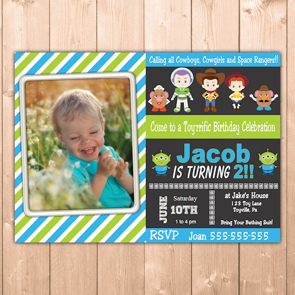 Toy story invitation funpartysupply toy story invitation with photo for a toy story birthday personalized printable toy story party invitation boy and girl free thank you note stopboris Images