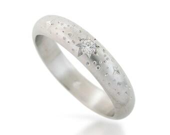 White gold wedding band, Diamond anniversary ring, Solid gold diamond ring, Modern wedding ring, Delicate wedding band, Stars diamond ring