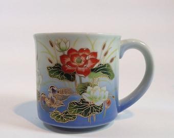 Vintage Otagiri Gilded Lotus Mug Ombre Periwinkle Blue Porcelain Bohemian Chic Coffee Mug