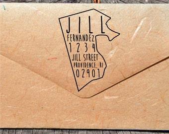 Rhode Island Address Stamp, Custom Rhode Island Stamp