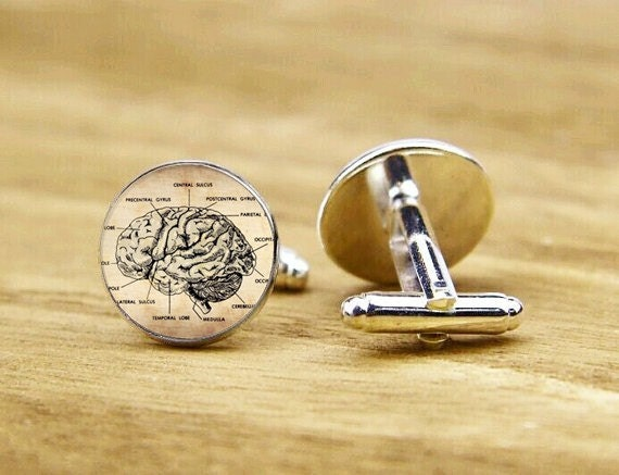 cufflinks, brain anatomy cufflinks, dissect brain cuff links, Anatomic, custom wedding cufflinks, round square cufflinks, tie clip or set