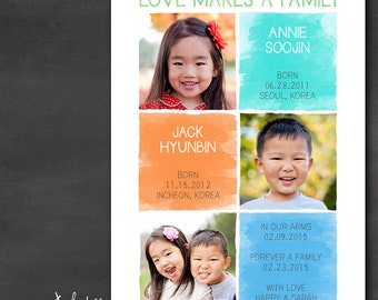 Sibling Adoption Announcement (Set of 50+) - Watercolor Blocks