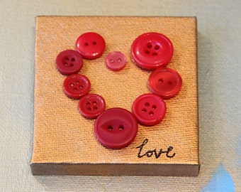 Cute as a Button Hearts on Canvas~ Love