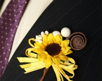 Rustic Sunflower Boutonnieres Set of 3, Groom and Groomsmen Boutonnieres, Sunflower Wedding Accessories, Sunflower Brown Swirl Buttonholes