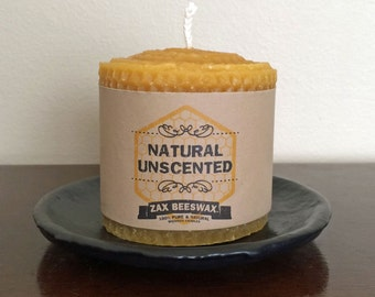 100% Pure & Natural Beeswax Pillar Candle | 3x3 Honeycomb